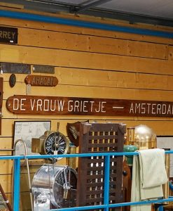 1960s Dutch Motor Ship Name Board De Vrouw Grietje - Amsterdam