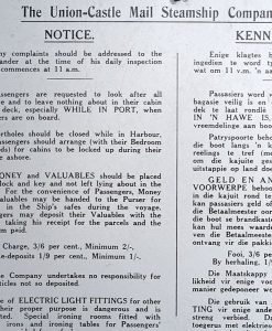 RMS Windsor Castle Notice to Passenger from Union Castle Line