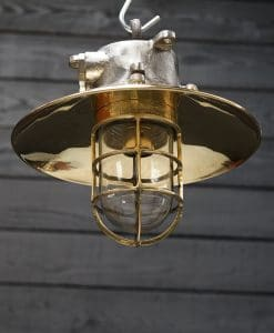 Reclaimed Iron and Brass Ship's Passage Pendant Light