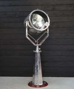 Mounted Aluminium Reclaimed Ship's Searchlight - Hexagonal Stand