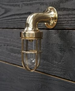 Brass Swan Neck 90 Degree Passage Wall Light - Small