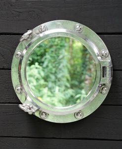 Original Ships Salvage Opening Porthole Mirror - 17in