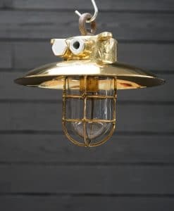 Original Large Brass Ship's Passageway Pendant - Brass Shade